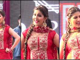 sapna choudhary red suit dance