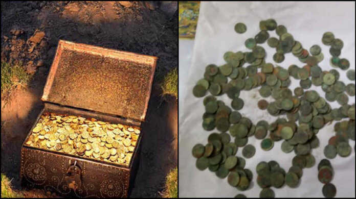 unnao Silver and copper coins in excavation