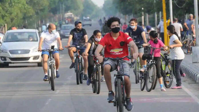 bicycle challan on the road in car stand