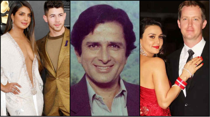 bollywood stars marriage with foreigners include shashi kapoor and priyanka