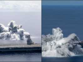 Aircraft carrier gerald ford bomb blast