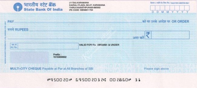 SBI cheque book Charge